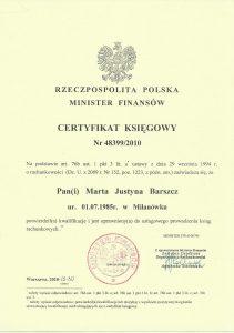 Certyfikat Księgowy Marta Barszcz